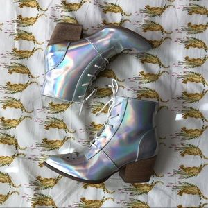 YRU Iridescent Hologram Reflective Witch Booties
